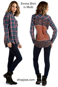 So much fun in one shirt for fall. Tolani takes the female flannel - a little country and adds their signature exotic print to the back side to create a one-of-a-kind shirt for fall in women's clothing. Love it! A great go-to top for a sophisticated casual look. See the celebrities that wore it best!