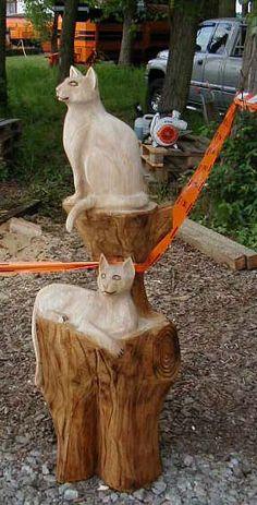 Cat Katze Holzfigur Holzkatze Kettensäge Motorsäge BaerArt Totempfahl Bär Kunst Galerie Künstlerwerkstatt