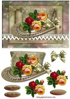 Vintage Hat 4 on Craftsuprint designed by Marijke Kok - Vintage hat with vintage roses, so beautiful... - Now available for download!