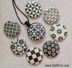 Black and White Quilt Necklace Collection