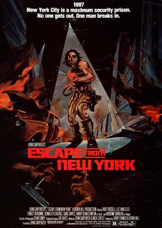 Escape from New York [1981] directed by John Carpenter, starring Kurt Russell, Lee Van Cleef, Ernest Borgnine, Donald Pleasence, Isaac Hayes, Season Hubley, Harry Dean Stanton, and Adrienne Barbeau.