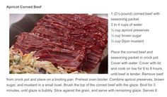 """Apricot Corned Beef from Chef Debbi Covington's Column """"Everyday Gourmet"""" in Beaufort, South Carolina Magazine, Lowcountry Weekly."""