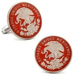 Ox and Bull Trading Co. Hand Painted Mexican Coin Cufflinks.