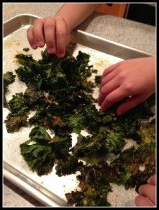 Gr8 Kale Chips  Bunch of Curly Kale (washed, dried and tore into pieces without the stem) 2 Tablespoons Olive Oil Coarse Salt Garlic Powder 3 Tablespoons Nutritional Yeast  Click pic for recipe #Gr8Recipes #SavetheChildren