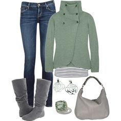 Green and Gray by laura-meiers, via Polyvore love the top