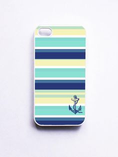 Nautical iPhone 4 Case - Seaside Stripe Anchor