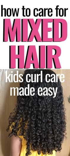 This step by step tutorial will show you exactly how to cleanse, detangle, and moisturize your kid's mixed curly hair! hair kids How To Care For Mixed Curly Hair Curly Hair Latina, Curly Hair Updo, Curly Hair Tips, Long Curly Hair, Curly Hair Styles, Natural Hair Styles, Curly Girl, Mixed Kids Hairstyles, Kids Curly Hairstyles