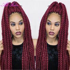 Find More Bulk Hair Information about burgundy braiding hair box braid extensions synthetic crochet braids…