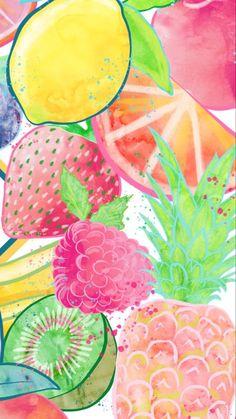 Fruit wallpaper pattern 64 ideas for 2019 Summer Wallpaper, Cute Wallpaper Backgrounds, Pretty Wallpapers, Cool Wallpaper, Pattern Wallpaper, Iphone Wallpapers, Trendy Wallpaper, Watercolor Fruit, Watercolor Pattern