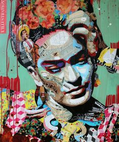 Image may contain: 2 people Collage Portrait, Collage Art, Portrait Poses, Pencil Portrait, Kahlo Paintings, Frida Art, Kunst Online, Open Art, Diego Rivera