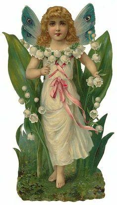 Victorian Die Cut of Flowers Fairy