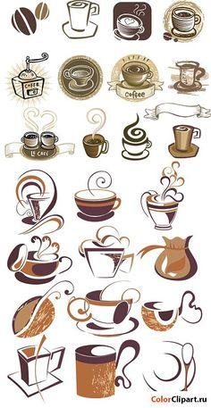 Кофейные логотипы в векторе