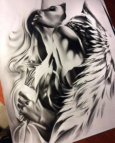 Almost done with this angel warrior! Can't wait to tattoo it.- Almost done with this angel warrior! Almost done with this angel warrior! Engel Tattoos, Leg Tattoos, Body Art Tattoos, Sleeve Tattoos, Cool Tattoos, Star Tattoos, Celtic Tattoos, Tattoo Art, Angel Tattoo Drawings