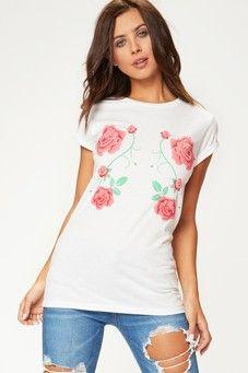 Palma White Floral Print T-Shirt