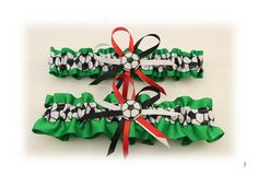 Green Wedding Garter Set with Soccer Deco Bridal by StarBridal