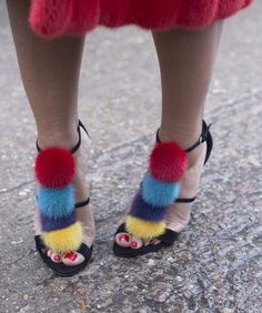 Street Style at Paris Haute Couture Fashion Week: Fuzzy heeled sandals