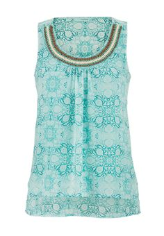 beaded neck open back tiered tank maurices