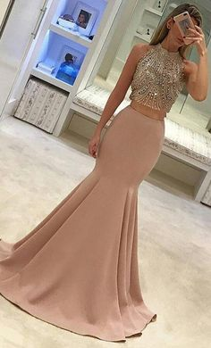 two piece prom dress, 2017 prom dress, beads prom dress, long prom dress, blush pink prom dress