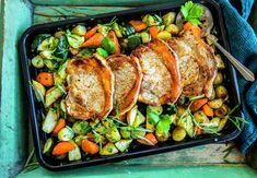 Koteletter og grønnsaker i ovn Moussaka, Cottage Cheese, Curry, Dessert, Drink, Meat, Dinner, Food, Eggplant