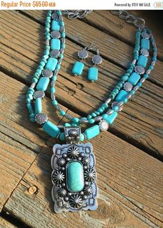 ON SALE Chunky western faux turquoise and by WBrandDesigns on Etsy