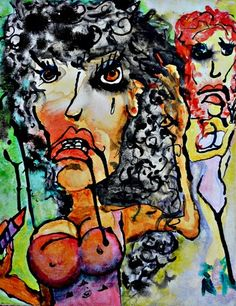 Man Eater abstract outsider art painting on by Clairehanleyart, $100.00