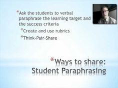 part of creation of objectives and learning targets Learning Targets, Learning Objectives, Think Pair Share, Ccss Ela, I Can Statements, Success Criteria, Formative Assessment, Cycle 3, Rubrics