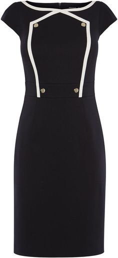 Button Detail Pencil Dress - Navy