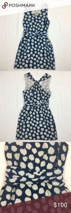 """Theory Richia Ikat Dot Dress Size 2 Brand: Theory. Material: Shell 92% Silk 8% Spandex; Lining 100% Silk. Color: Blue/White. Size: 2. Length 33"""" Armpit to armpit 15"""" Waist 12"""" (flat lay). Elastic waistband. Invisible zipper on left side. Pocket on each side. Excellent condition. Dry cleaned. Make an offer. Theory Dresses"""