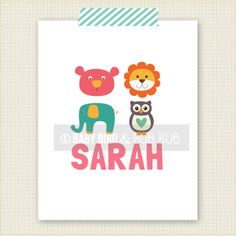 Animals with Personalized Name  Kids Room Art by BabyBirdandBubBub, $15.00