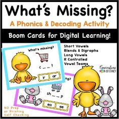 Build phonics and decoding skills with this fun & engaging What's Missing game! Students say the picture names and listen to the sounds in those words. Students then choose the spelling pattern that fits those sounds. Great for phonics and spelling patterns!  #phonics #decoding #boomcards #distancelearning #spelling #readinginterventions #literacycenters #fluency #conversationsinliteracy #classroom #elementary