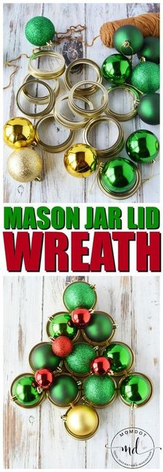 Mason Jar Lid Wreath | Christmas Wreath Tutorial using Mason Jar Lids | Holiday Mason Jar Crafts #masonjarcrafts #masonjars #christmas #wreaths #DIY