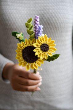 Войлок букет / Подсолнечник & Лаванда букет / навсегда Цветы