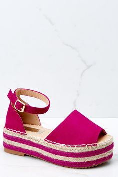 70c82fea1 Cute Hot Pink Wedge Sandals -Ankle Strap Platform Wedges - Shoes -  32 – Red