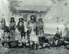 Chiricahua Apaches in Fort Sam Houston on the way to captivity after Fort Sill, September or October 1886. 1) Ahnandia, 2) Yahnozha, 3) Tissnolthos, 4) Geronimo, 5) Chappo, 6) Perico, 7) Hunlona, 8) might be Beshe, 9) Naiche.