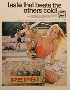 Vintage 1968 Pepsi magazine ad that has been carefully extracted from the Saturday Evening Post. Measures approximately. 10.5 inches wide x 14 inches tall. This is an original from the magazine, not a
