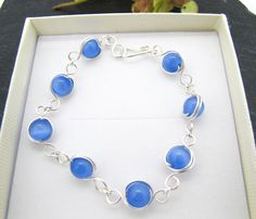 Silver wire wrapped blue cat's eye bracelet, wire wrapped bracelet, glass beads