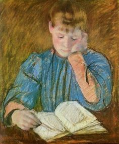 Mary Cassatt - The Pensive Reader,  (American artist, 1844-1926) 1894