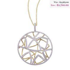 18K White Gold Branch Diamond Pendant