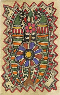 Madhubani Indian Folk Art - Parrots