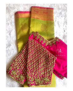 blouse designs Stunning pink color designer blouse with floral design hand embroidery work on sleeves and neckline. Blouse Back Neck Designs, Brocade Blouse Designs, Wedding Saree Blouse Designs, Fancy Blouse Designs, Designer Blouse Patterns, Stylish Blouse Design, Hand Embroidery, Embroidery Blouses, Embroidery Stitches