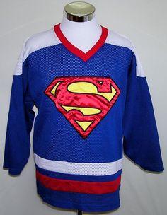 Vintage DC COMICS Licensed SUPERMAN Hockey Jersey Men's Warner Bros SEWN Size L #WarnerBro #WarnerBroSuperman