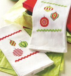 Festive Ornament Towels - Breanne Jackson (designer) - maximum stitch count 46w x 66h