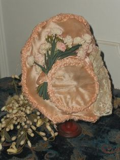 ~~~ Beautiful 19th. Century French Pink Silk Bonnet ~~~