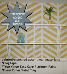 tips for painting a herringbone accent wall {stenciling a textured wall}