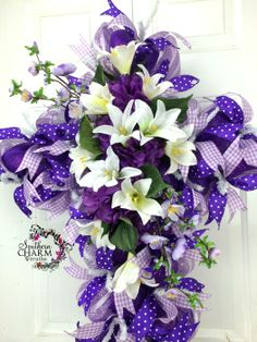 Easter Door Wreaths | Deco Mesh Easter Cross Wreath -Easter Door -Purple - Hydrangeas