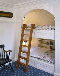 Sleeping nooks for the boys? Built In Bed, Built Ins, Bunk Beds Built In, Loft Beds, Twin Beds, Girls Bedroom, Home Bedroom, Bedroom Ideas, Reading Lamps