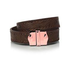 D'Monti Paris Brown - France Luxe Genuine Ostrich Leather Double Bracelet