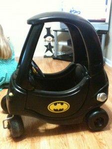 Check out this Little Tikes Cozy Coupe transformation into Batmobile!