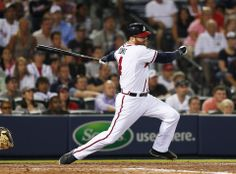 Atlanta Braves pinch hitter Ryan Doumit puts the Braves up with a two-run base hit in the seventh inning of a baseball game against the Milwaukee Brewers.