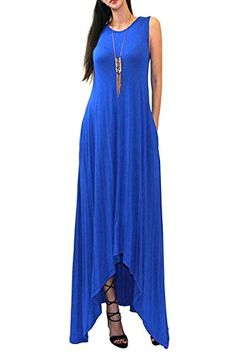 VIVICASTLE Batwing Oversized Loose Summer Tank Scoop Neck Pocket Long Maxi Dress Medium Royal Blue ** Check this awesome product by going to the link at the image.
